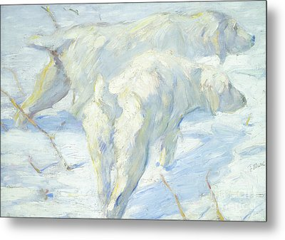 Siberian Dogs In The Snow Metal Print by Franz Marc