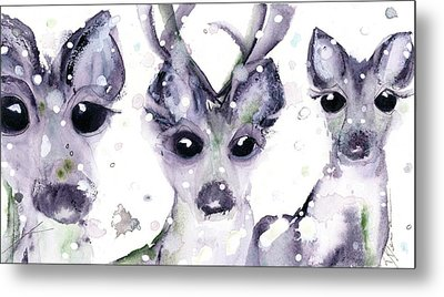 Metal Print featuring the painting 3 Snowy Deer by Dawn Derman