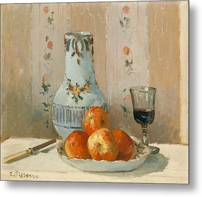 Still Life With Apples And Pitcher Metal Print