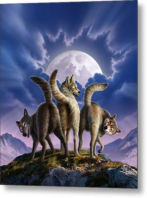 3 Wolves Mooning Metal Print by Jerry LoFaro
