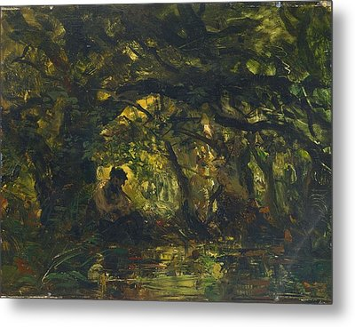 Woodland Scene With Pan Playing A Flute Metal Print by Carl Ebert