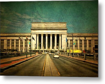 Metal Print featuring the mixed media 30th Street Station Traffic by Trish Tritz