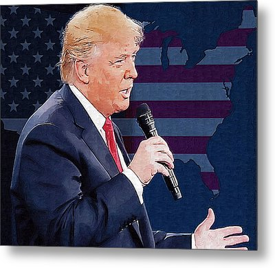 Donald Trump Metal Print by Elena Kosvincheva