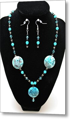 3508 Crazy Lace Agate Necklace And Earrings Metal Print