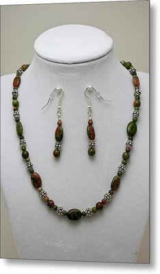 3525 Unakite Necklace And Earring Set Metal Print by Teresa Mucha