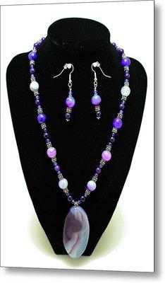 3547 Purple Veined Agate Set Metal Print by Teresa Mucha