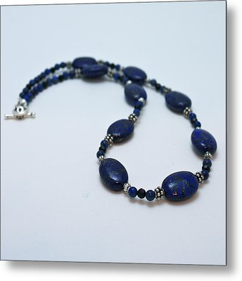 3553 Lapis Lazuli Necklace And Earrings Set Metal Print