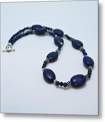 3553 Lapis Lazuli Necklace And Earrings Set Metal Print by Teresa Mucha