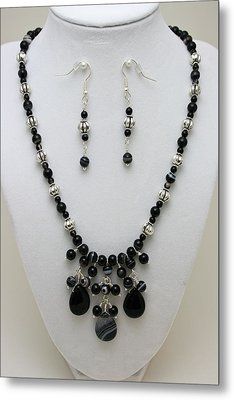 3601 Black Banded Onyx Necklace And Earrings Metal Print by Teresa Mucha