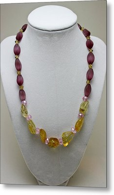 3603 Citrine And Amethyst Cats Eye Necklace Metal Print by Teresa Mucha
