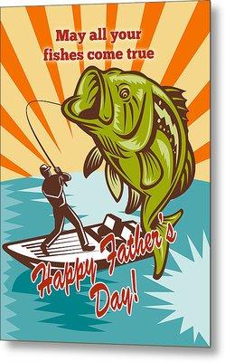 Fly Fisherman On Boat Catching Largemouth Bass Metal Print by Aloysius Patrimonio