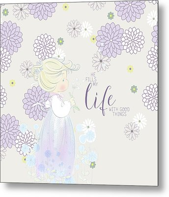 He Fills My Life With Good Things Metal Print by Precious Moments