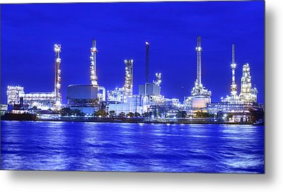 Landscape Of River And Oil Refinery Factory  Metal Print