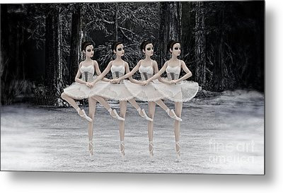 Metal Print featuring the digital art 4 Little Swans by Methune Hively