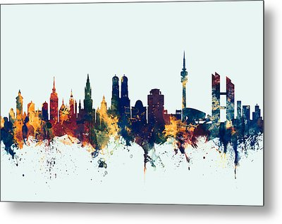 Munich Germany Skyline Metal Print by Michael Tompsett