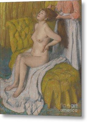 Woman Having Her Hair Combed Metal Print by Edgar Degas