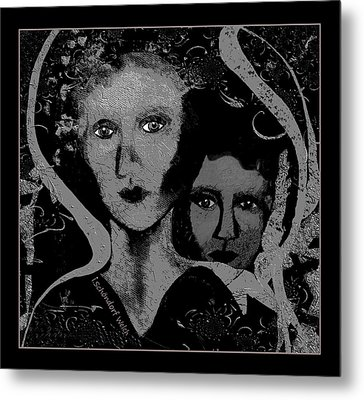 Metal Print featuring the digital art 450 - Get Off My Back 2017 by Irmgard Schoendorf Welch