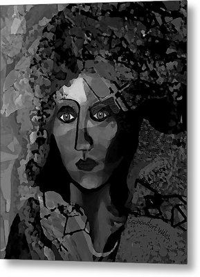 Metal Print featuring the digital art 455 - Dark Dreamer by Irmgard Schoendorf Welch