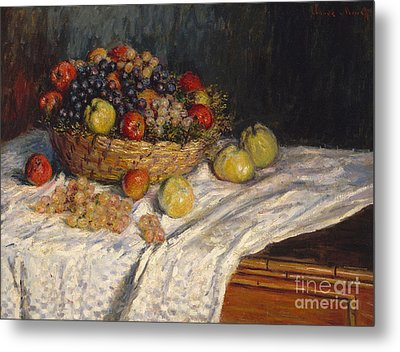 Apples And Grapes Metal Print by Claude Monet