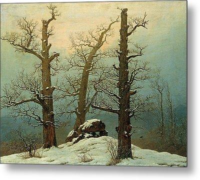 Cairn In Snow Metal Print by Caspar David Friedrich