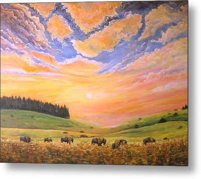 O Give Me A Home Where The Buffalo Roam Metal Print by Connie Tom
