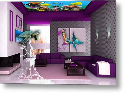 Rooftop Saltwater Fish Tank Art Metal Print by Marvin Blaine