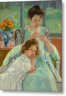 Young Mother Sewing Metal Print