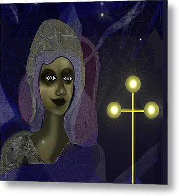 Metal Print featuring the digital art 673 - Young Lady With Cross by Irmgard Schoendorf Welch