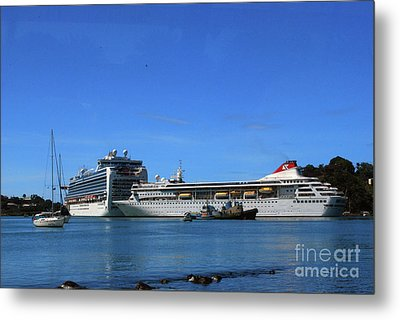 Metal Print featuring the photograph Cruise Ship In Port by Gary Wonning