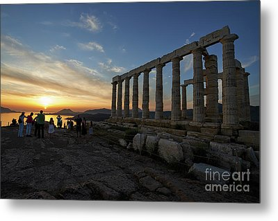 Temple Of Poseidon During Sunset Metal Print by George Atsametakis