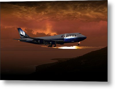 Metal Print featuring the digital art 747-400 02 Approach Phog by Mike Ray