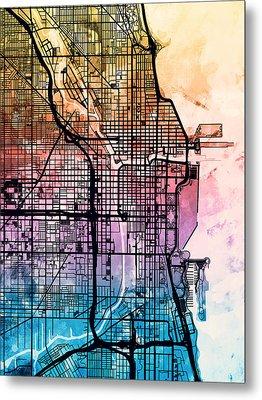 Chicago City Street Map Metal Print