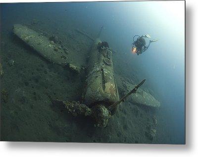 Diver Explores The Wreck Metal Print