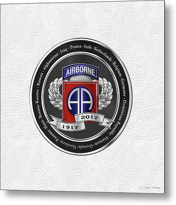 82nd Airborne Division 100th Anniversary Medallion Over White Leather Metal Print by Serge Averbukh