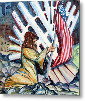 911 Cries For Jesus Metal Print by Mindy Newman