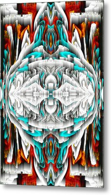 Metal Print featuring the digital art 992.042212mirror2ornateredablue-1 by Kris Haas
