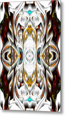 Metal Print featuring the digital art 992.042212mirror2ornateredagold-1a-1 by Kris Haas