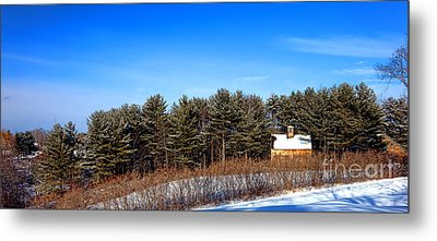 A Barn In The Snow In Maine Metal Print by Olivier Le Queinec