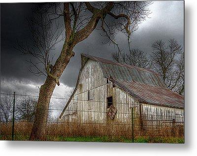 A Barn In The Storm 2 Metal Print by Karen McKenzie McAdoo