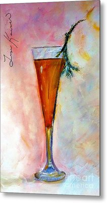 A Beverage With A Twig Garnish Painting Metal Print