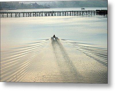 A Boat Approaching Mon Bridge In Sangkhlaburi Metal Print by Jirawat Cheepsumol