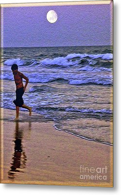 A Boy's Beach Run Metal Print