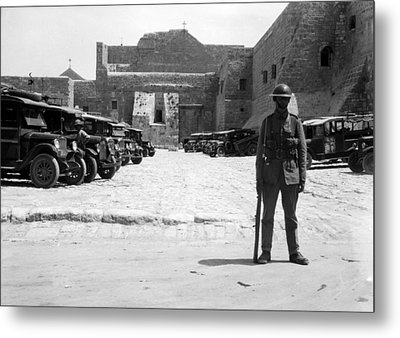 A British Soldier In Front Of Nativity Church Metal Print by Munir Alawi
