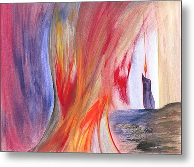 A Candle's Flame Metal Print by Robert Meszaros