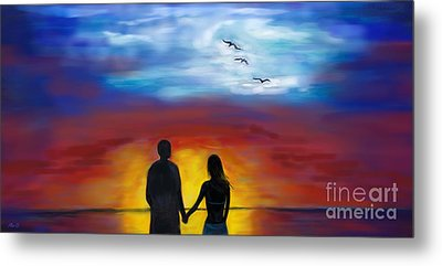 Metal Print featuring the painting A Captivating Love by Leslie Allen