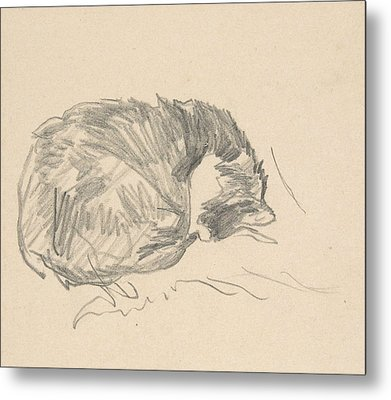 A Cat Curled Up, Sleeping Metal Print by Edouard Manet