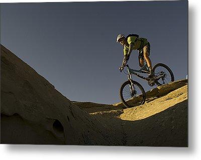 A Caucasian Man Mountain Biking Metal Print by Bobby Model