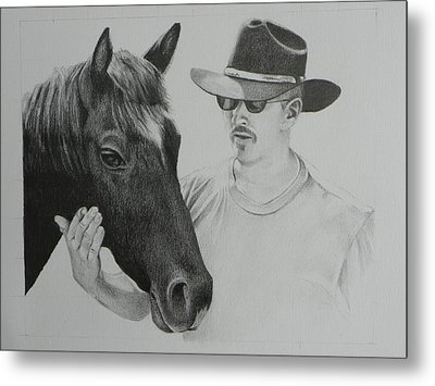 A Cowboy And His Horse Metal Print by David Ackerson
