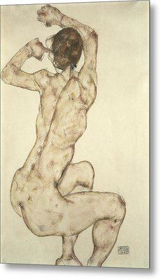 A Crouching Nude Metal Print