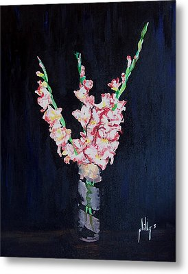 Metal Print featuring the painting A Cutting Of Gladiolas by Jim Phillips